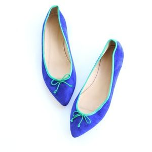 J. Crew Leather Suede Ballerina Pointed Toe Flats